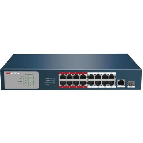 Hikvision DS-3E0318P-E/M 16 Ports Ethernet Switch - 16 x Fast Ethernet Netværk, 1 x Gigabit Ethernet Uplink, 1 x Gigabit Ethernet Udvidelses Stik - Modulær - Snoet Par - 2 Layer Supported - 1U High - Hylde Monterbart