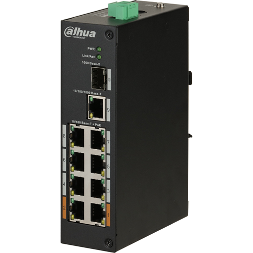 Dahua DH-PFS3110-8ET-96 8 Ports Ethernet Switch - 2 Layer Supported - Modulær - 96 W PoE Budget - Twisted pair - PoE Ports