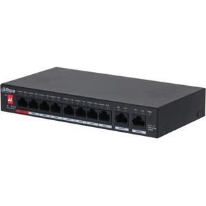 Dahua 10 Ports Ethernet Switch - 2 Layer Supported - 96 W PoE Budget - Snoet Par - PoE Ports - Desktop, Vægmontering