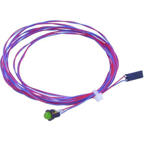 Grøn LED 5mm. 2m kabel. 10 stk